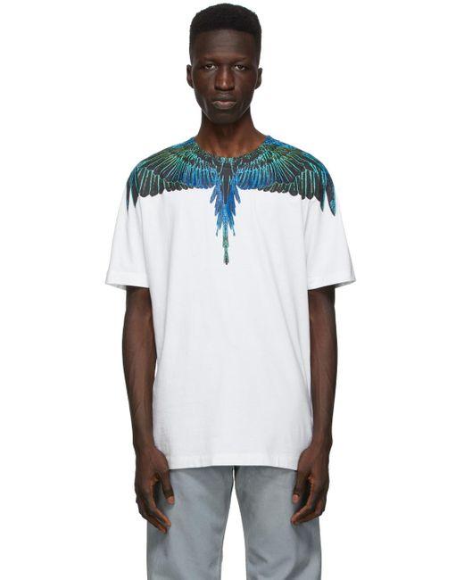 メンズ Marcelo Burlon ホワイト & ブルー Neon Wings T シャツ White