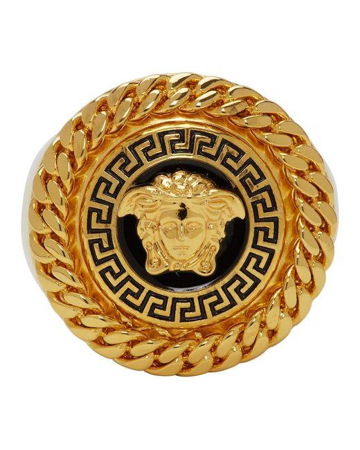 Versace Gold And Black Enamel Medusa Ring for men
