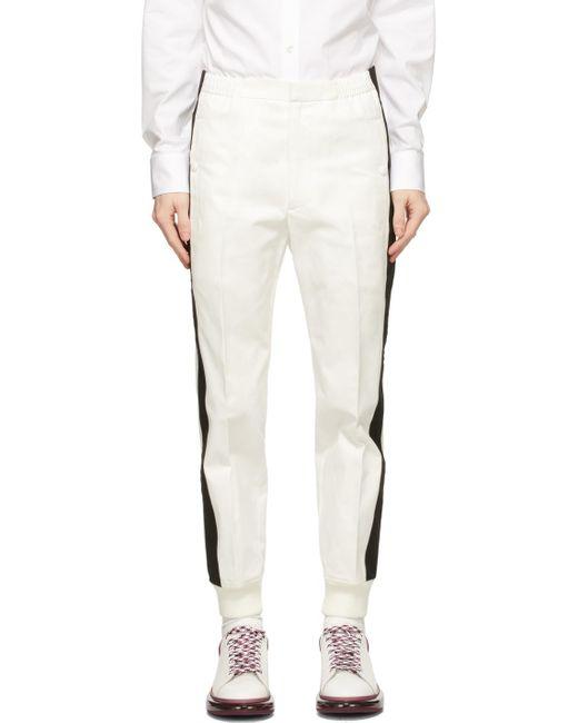 メンズ Alexander McQueen ホワイト ストライプ トラウザーズ White