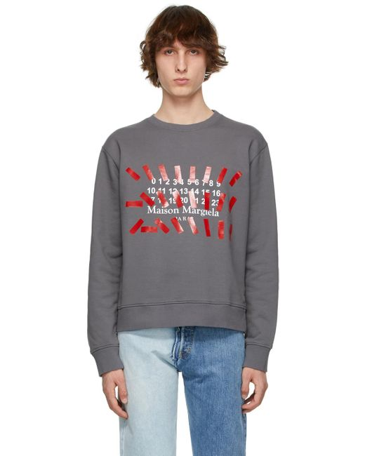 メンズ Maison Margiela グレー Tape プリント スウェットシャツ Gray
