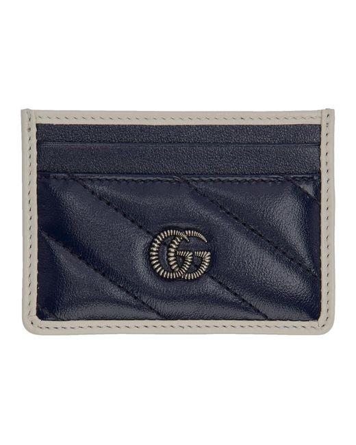 Gucci ネイビー GG マーモント トーション カード ホルダー Blue