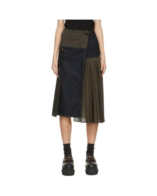 Sacai ネイビー And カーキ Suiting スカート Blue