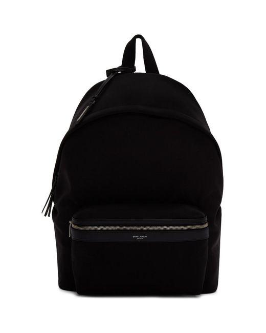 メンズ Saint Laurent ブラック キャンバス シティ バックパック Black