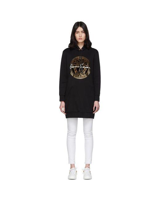 Versace ブラック メドゥーサ シグネチャ フーディ ドレス Black