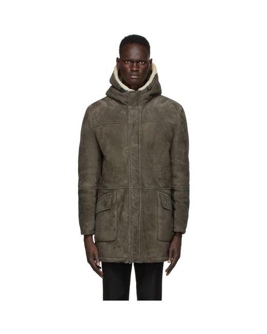 メンズ Yves Salomon リバーシブル グレー スエード コート Gray