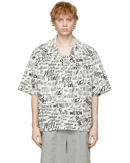 メンズ we11done ホワイト ロゴ ショート スリーブ シャツ White