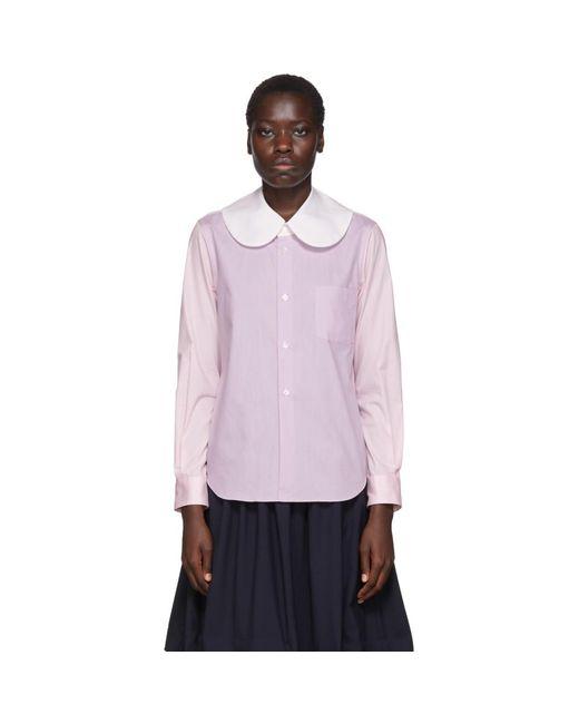 Comme des Garçons ホワイト カラーブロック ラージ カラー シャツ Purple