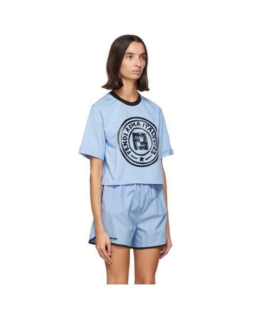 Fendi ブルー クロップ ロゴ T シャツ Blue