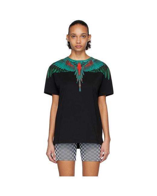 Marcelo Burlon ブラック And グリーン ウィング T シャツ Black