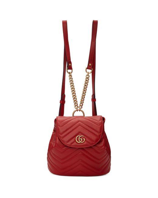 Gucci レッド ミニ GG マーモント 2.0 バックパック Red