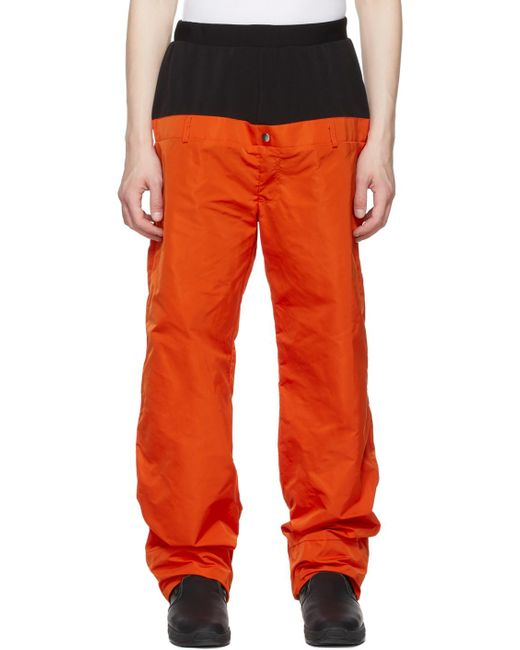 メンズ Spencer Badu オレンジ & ブラック シルク Snow トラウザーズ Orange