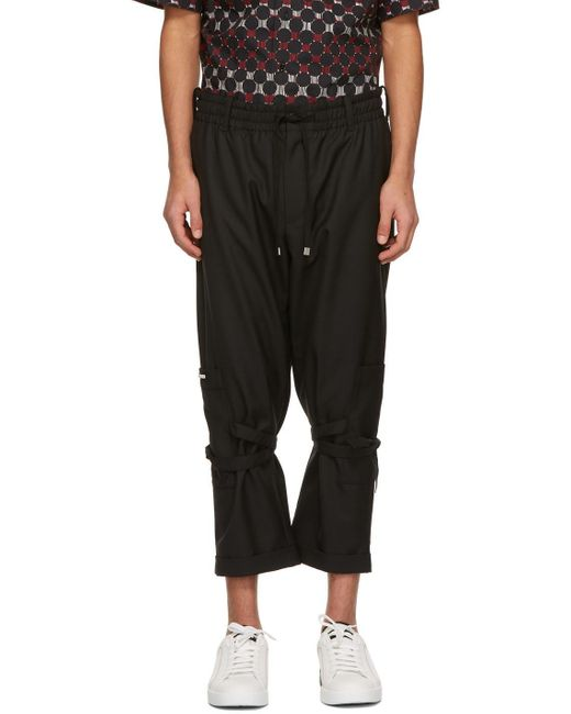 メンズ Dolce & Gabbana ブラック 3d ロゴ カーゴ パンツ Black
