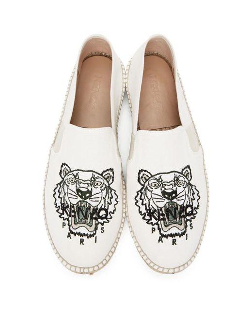 メンズ KENZO ホワイト キャンバス Tiger Head エスパドリーユ White