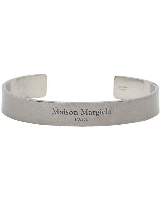 メンズ Maison Margiela ガンメタル ロゴ カフ ブレスレット Metallic