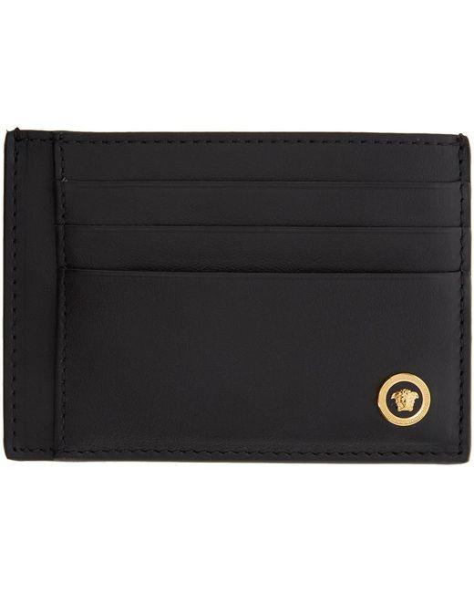メンズ Versace ブラック スムース メドゥーサ カード ホルダー Black