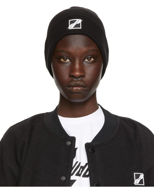 we11done ブラック ロゴ パッチ ビーニー Black