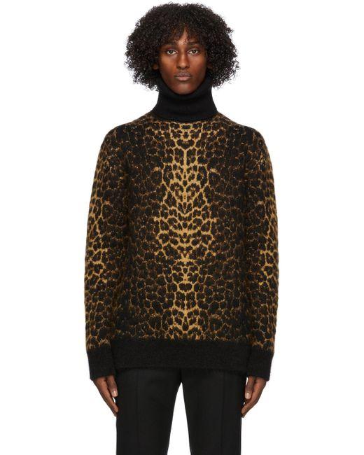 メンズ Saint Laurent ブラウン ウール & モヘア レオパード タートルネック Brown
