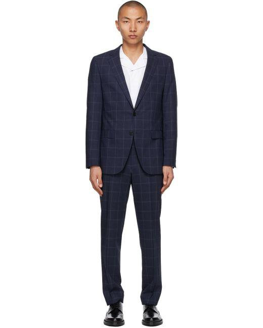 メンズ BOSS by Hugo Boss ブルー チェック スリム スーツ Blue
