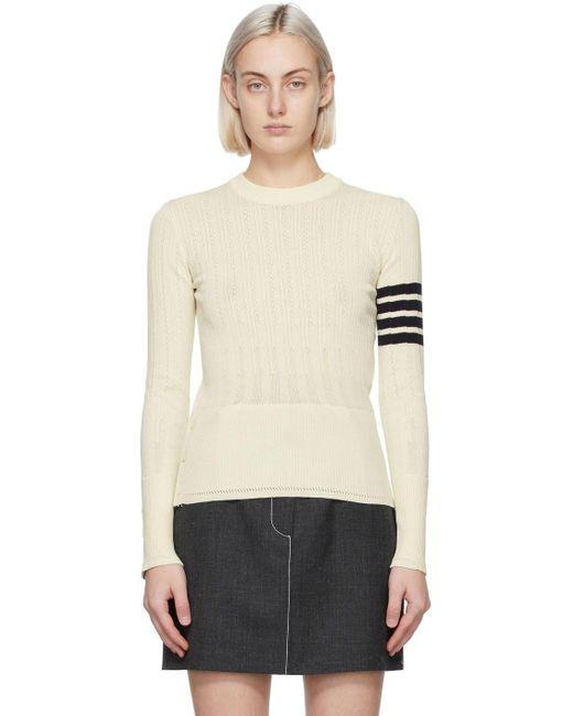 Thom Browne ホワイト 4bar セーター White