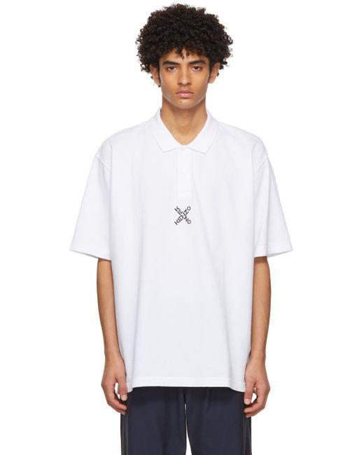 メンズ KENZO ホワイト オーバーサイズ Sport Blocked K ポロシャツ White