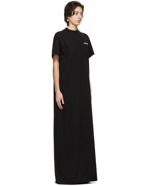 we11done ブラック ロング ロゴ T シャツ ドレス Black