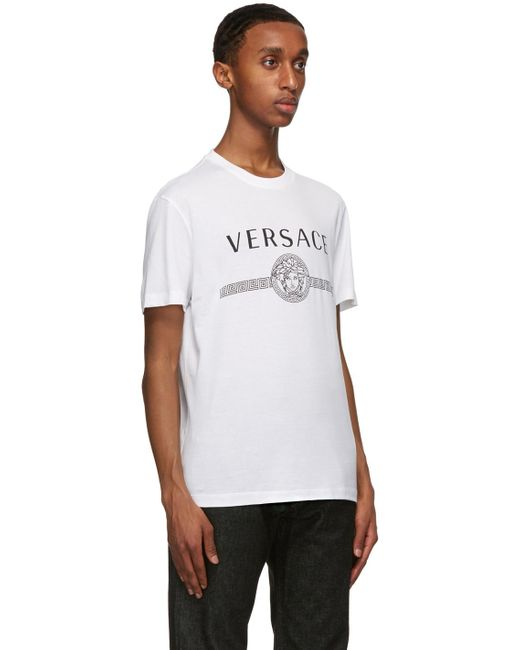 メンズ Versace ホワイト Medusa ロゴ T シャツ White