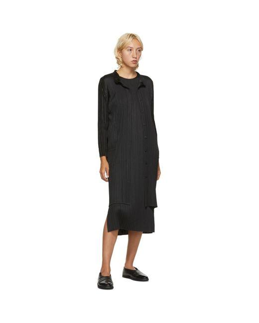 Pleats Please Issey Miyake ブラック スリーブレス ミッドレングス ドレス Black