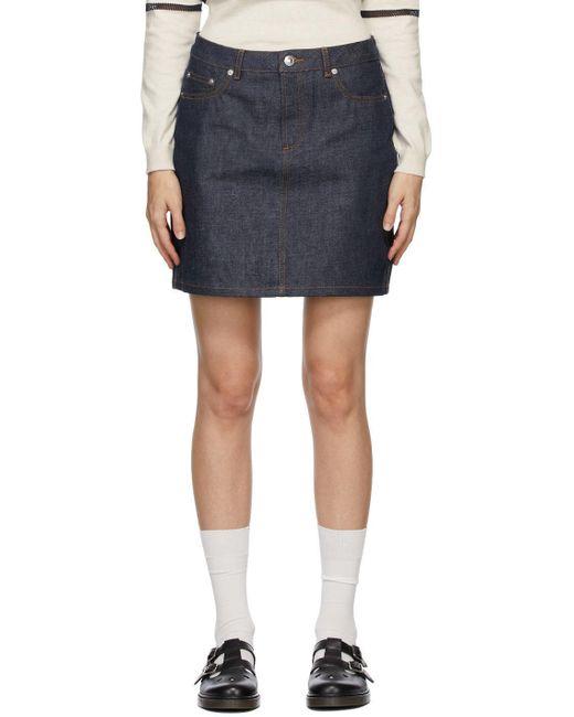 A.P.C. インディゴ Standard ミニスカート Blue