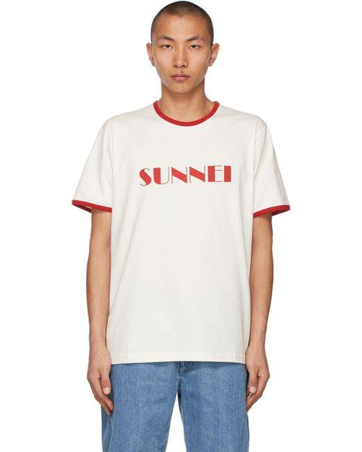 メンズ Sunnei ホワイト & レッド ロゴ T シャツ White