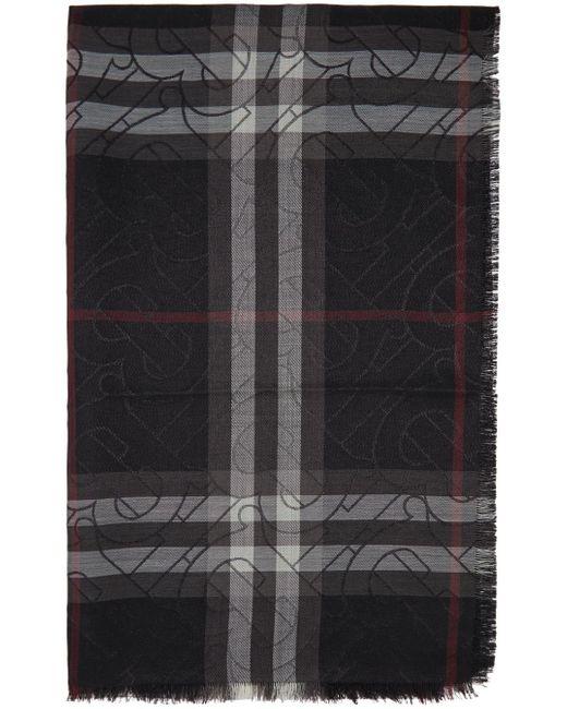 メンズ Burberry ブラック チェック Metallic モノグラム スカーフ Black