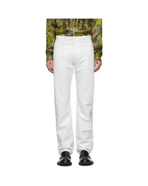 メンズ Dries Van Noten ホワイト レザー パンツ White