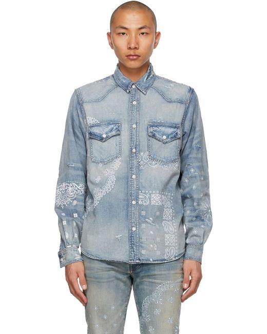 メンズ Amiri ブルー Bandana Print シャツ Blue