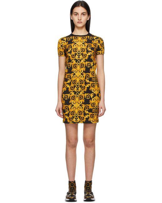 Versace Jeans ブラック Barocco ロゴ ドレス Yellow