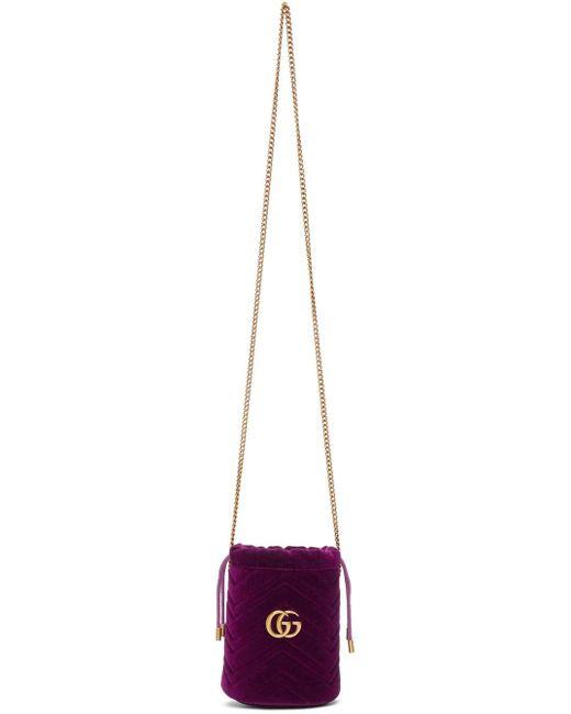 Gucci ピンク ミニ ベルベット GG マーモント バケット バッグ Pink