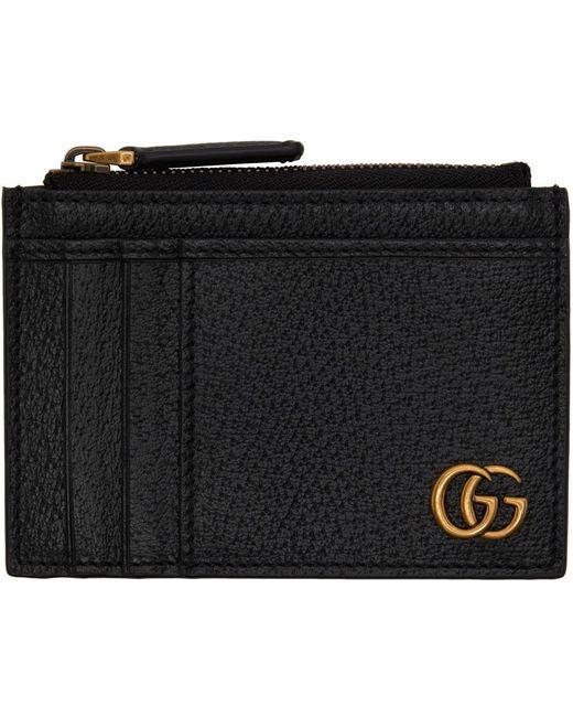 メンズ Gucci ブラック GG Marmont カード ケース Black