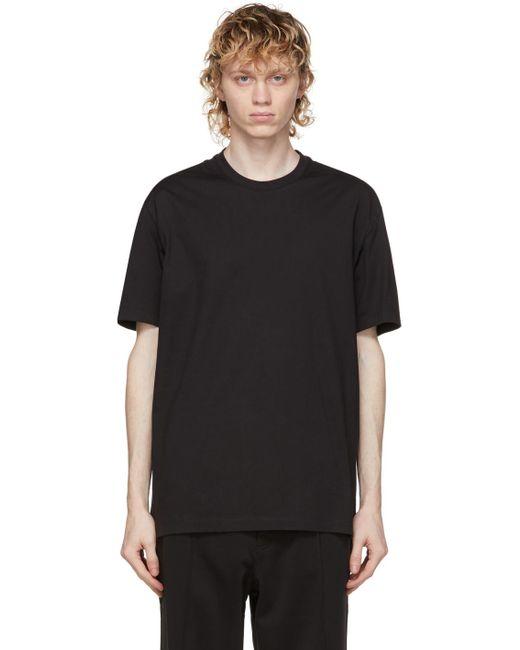 メンズ Y-3 ブラック ロゴ T シャツ Black
