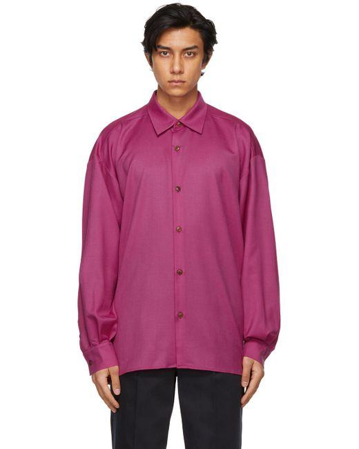 メンズ King & Tuckfield ピンク Pleated Sleeve オーバーサイズ シャツ Pink