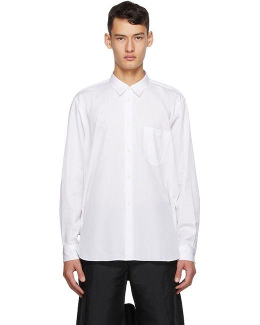 メンズ Comme des Garçons ホワイト コットン ブロードクロス シャツ White