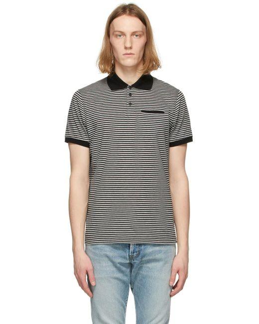 メンズ Saint Laurent ブラック & グレー ストライプ ポロシャツ Gray