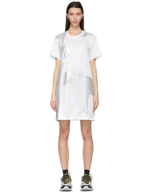 Comme des Garçons ホワイト & シルバー T シャツ ドレス White