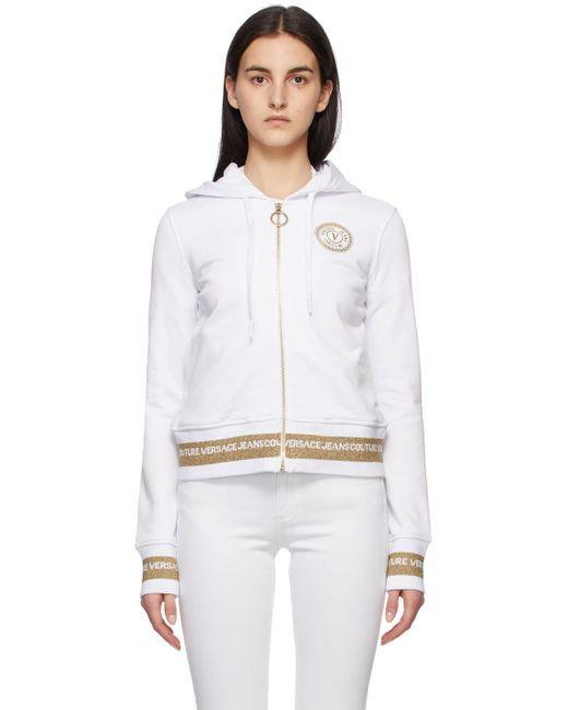 Versace Jeans ホワイト V Emblem フーディ White