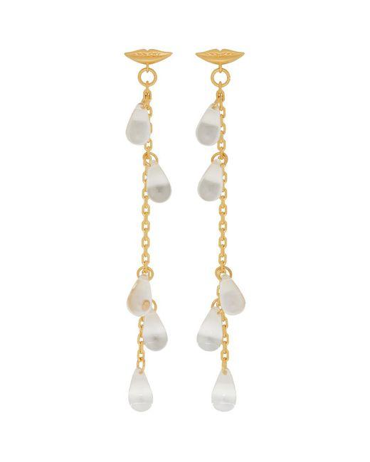 AlexaChung - Metallic Gold Lip Multiple Drop Earrings - Lyst