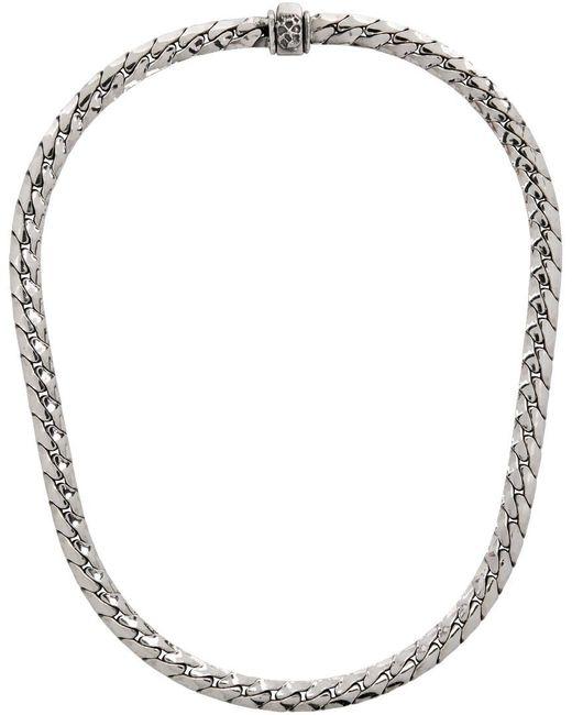 メンズ Emanuele Bicocchi シルバー Herringbone チェーン ネックレス Metallic