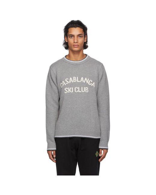 メンズ CASABLANCA グレー Ski Club セーター Gray