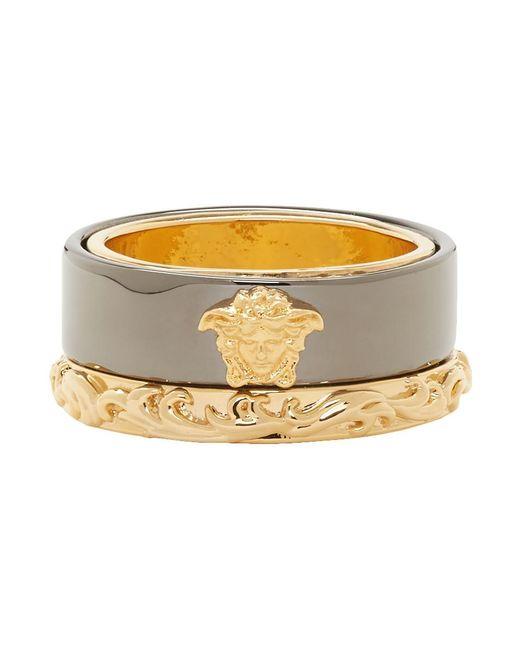 Versace Metallic Gold And Gunmetal Medusa Barocco Ring for men