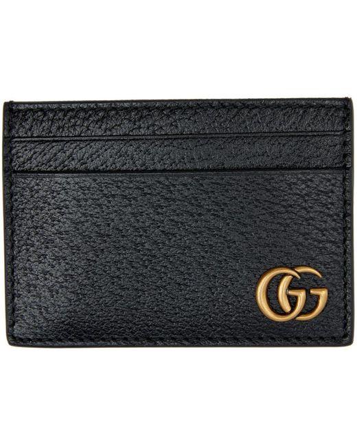 メンズ Gucci ブラック GG Marmont マネー クリップ カード ケース Black