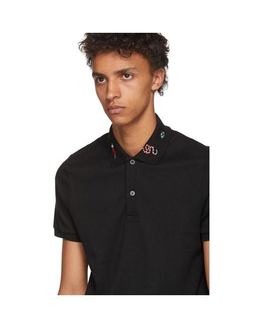 619e057b51d Lyst - Gucci Black Embroidered Collar Polo in Black for Men