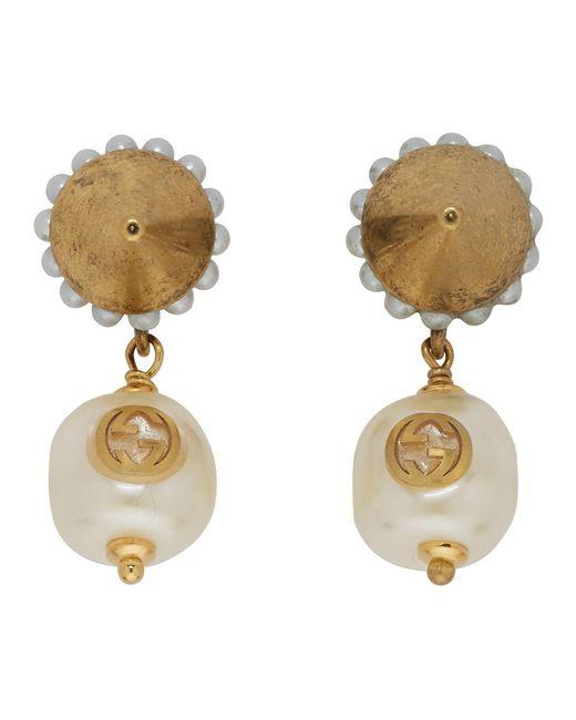 Gucci - Metallic Gold Interlocking G Pearl Earrings - Lyst