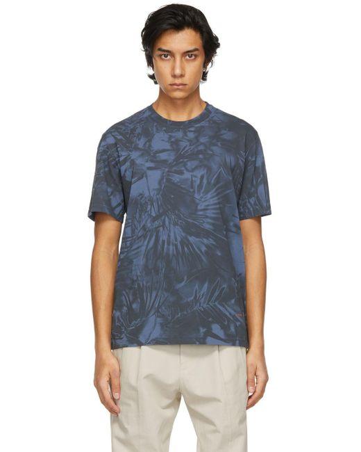 メンズ Ermenegildo Zegna ブルー グラフィック T シャツ Blue