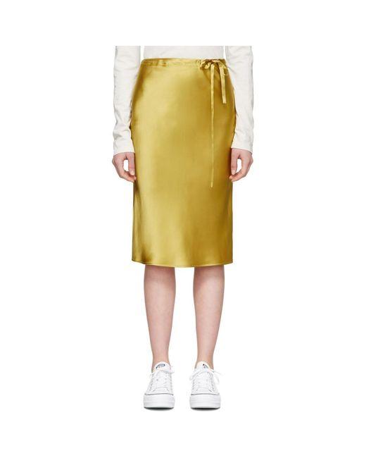 6397 ゴールド シルク ドローストリング スカート Metallic